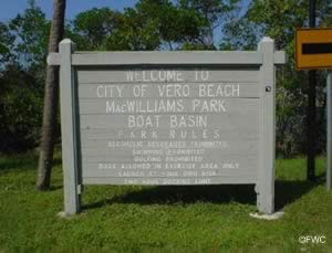 entrance sign to macwilliams park in vero beach