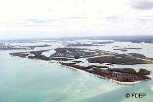 aerial view of lovers key state park in lee county