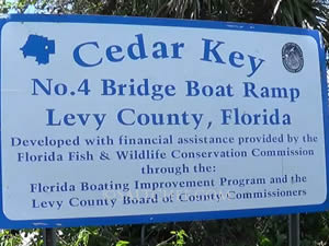 no. 4 bridge boat ramp sign cedar key florida