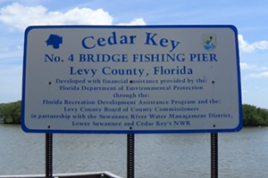 bridge 4 fishing pier sign cedar key fl
