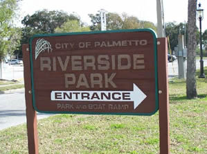 riverside park boat ramp sign