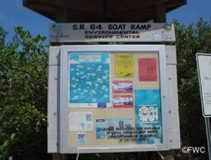 entrance sign to sr 64 boat ramp