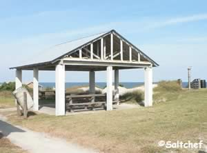 small pavilions near beach at burney park