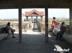 shade at seaside park walkway to beach