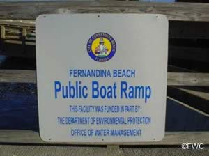 fernandina beach in nassau county florida public boat ramp sign