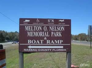 melton nelson memorial park and boat ramp sign