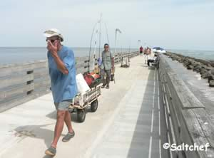 it is a long walk to the end of the pier