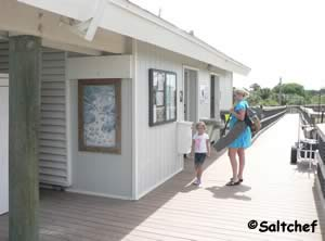 restrooms are at the start of the pier at fort clinch