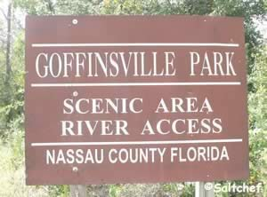 entrance to goffinsville park and fishing pier