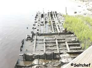 frame of world war 2 landing craft at goffinsville