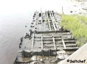 frame of world war 2 landing craft at goffinsville