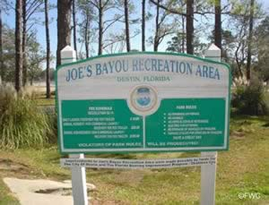 sign for joes bayou recreation area