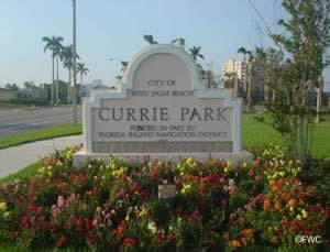 sign at entrance to currie park