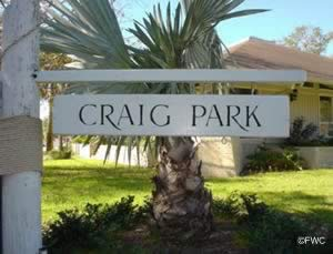 sign at entrance to criag park tarpon springs