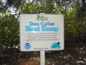 don cesar boat ramp sign in saint pete beach florida