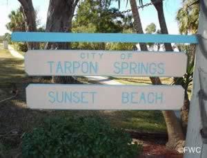 entrance to sunset beach tarpon springs fl