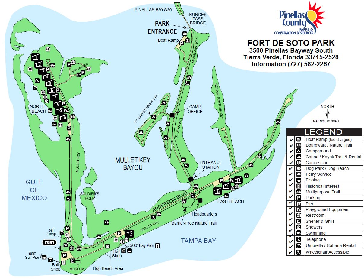 Where to surf fish in pinellas county florida beaches click here to go to map of fort de soto park nvjuhfo Images