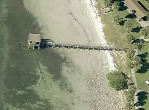 aerial of bay vista park fishing pier