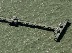 aerial view of gulf pier at fort de soto park