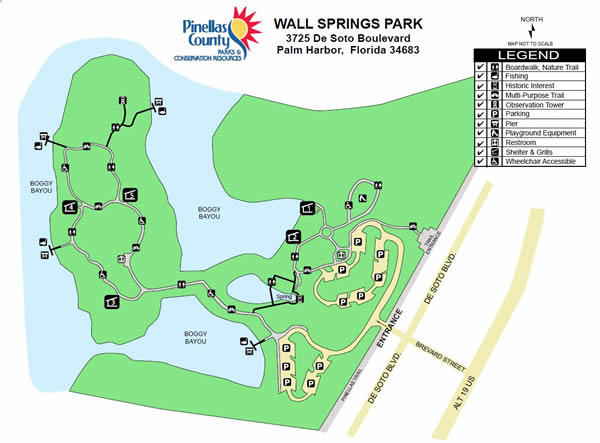 map of wall springs park in palm harbor