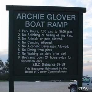 sign at archie glover boat launching ramp