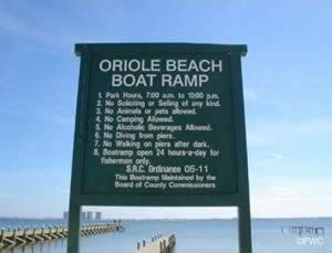oriole beach public boat ramp gulf breeze florida sign