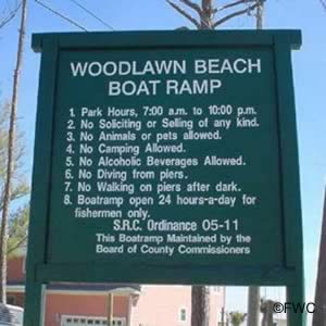 sign at woodlawn beach boat ramp santa rosa county fl
