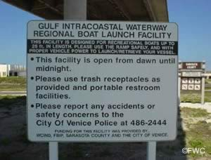 entrance sign to gulf icw regional boat launching ramp