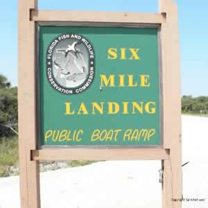 six mile boat ramp sign