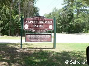 sign at alpine groves park