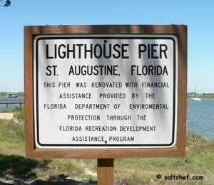 sign at lighthouse park pier st aug fl