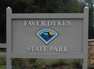 faver dykes state park sign