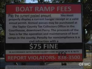pay fees at keaton beach ramp sign