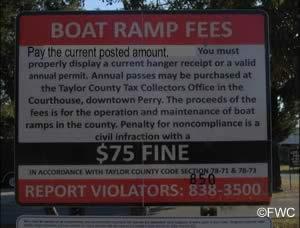 pay fees at keaton beach ramp sign