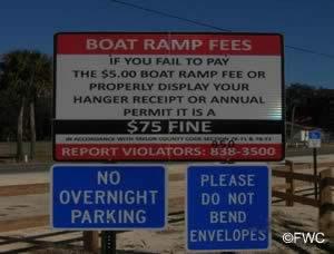 regulation signs at steinhatchee ramp