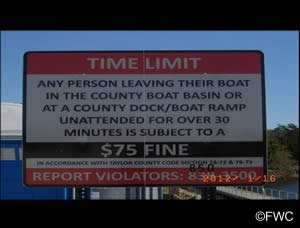 unattended boat sign at steinhatchee ramp
