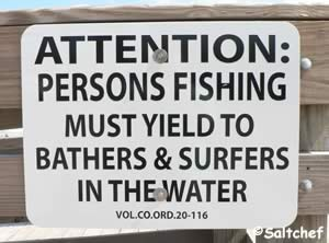 advisory sign to fisherman at al weeks park