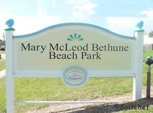 entrance sign mary mcleod beach park nsb, fl