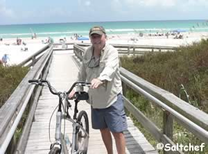 allen coming off the beach from a ride