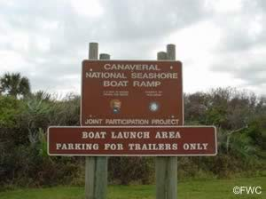 Cape Canaveral National Seashore boat ramp sign