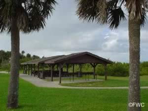picnic pavilions at george kennedy park and boat ramp in edgewater fl