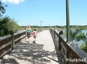 fishing pier at riverbreeze park in oak hill 32759