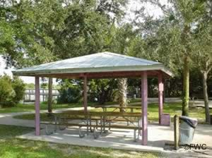 picnic pavilions at river breeze park and boat ramp