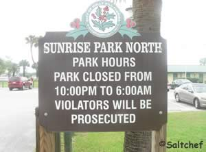 sign at sunrise park