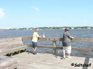 fishermen on ames park dock