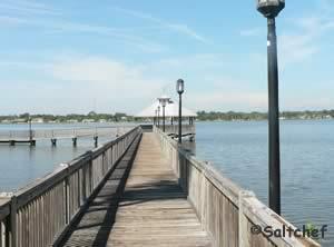 fising pier near water tower in daytona