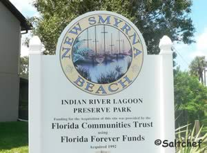 sign at indian river lagoon preserve nsb fl