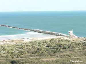 saltwater fishing jetty view from lighthouse at ponce inlet