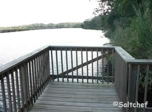 small fishing dock at river bend nature park