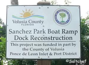 sign at sanchez park boat ramp ormond beach florida
